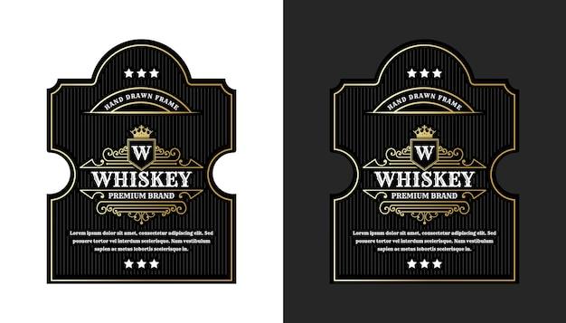 Etiquetas de marco real de lujo vintage con logotipo para envases de botellas de bebidas alcohólicas de whisky de cerveza