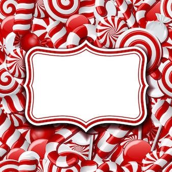 Etiquetas de marco sobre fondo dulce con diferentes caramelos rojos y blancos. ilustración