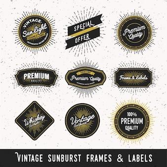 Etiquetas y marcos vintage con rayos de sol