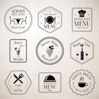 Etiquetas del menú del restaurante negro