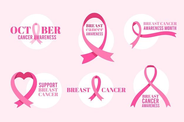 Etiquetas del mes de concientización sobre el cáncer de mama