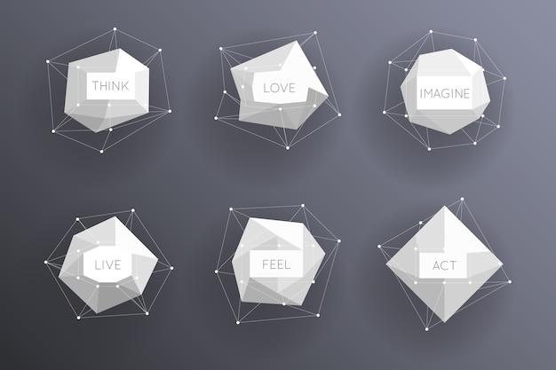 Etiquetas modernas poligonales bajas abstractas. elemento creativo de plantilla.
