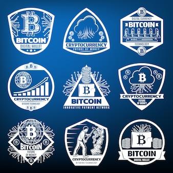 Etiquetas de moneda bitcoin vintage con servidor de red de pago, hardware informático, monedas, nubes, gráficos de minería aislados