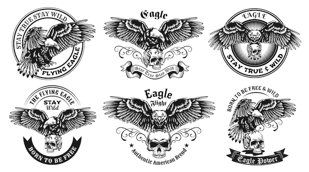 Etiquetas monocromas con conjunto de ilustraciones de águila y calavera