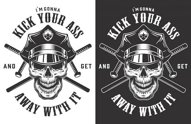 Etiquetas monocromas policiales vintage