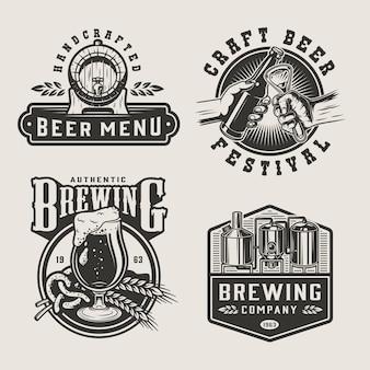 Etiquetas monocromáticas de cervecería vintage