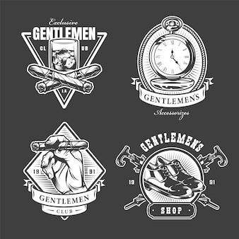 Etiquetas monocromáticas del club de caballeros