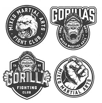 Etiquetas monocromáticas de club de lucha vintage