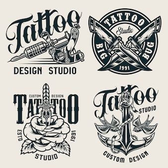 Etiquetas monocromáticas de estudio de tatuaje vintage