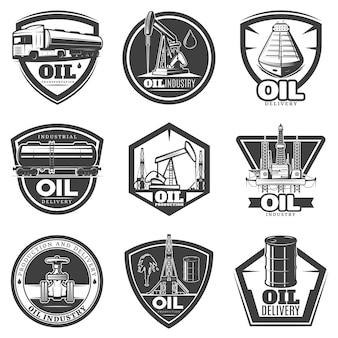 Etiquetas monocromáticas de la industria petrolera