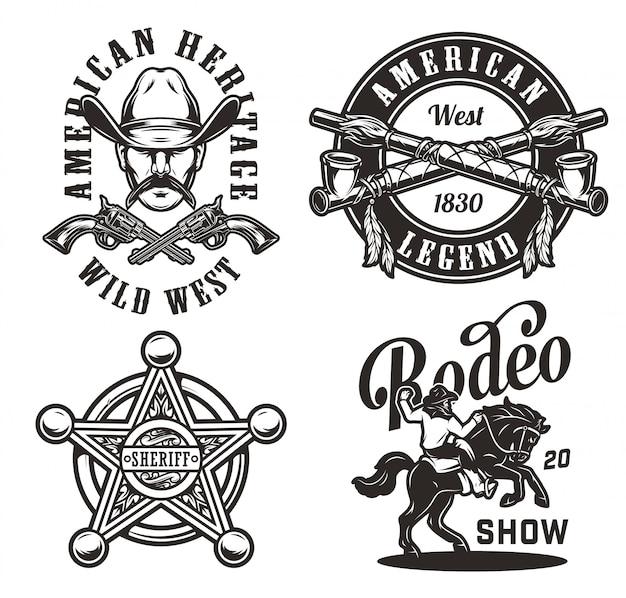 Etiquetas monocromáticas del salvaje oeste vintage