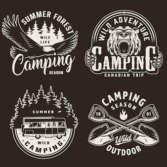 Etiquetas monocromáticas de temporada de camping vintage