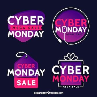 Etiquetas moradas de cyber monday