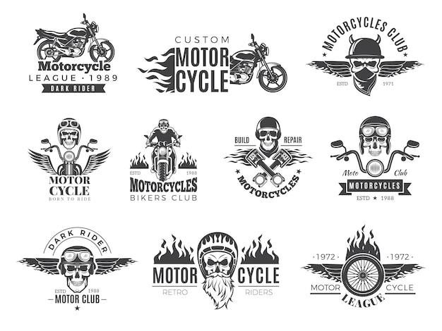 Etiquetas de motos. insignias de motociclista con símbolos de velocidad motor motor race chopper cráneo y colección de fotos de fuego