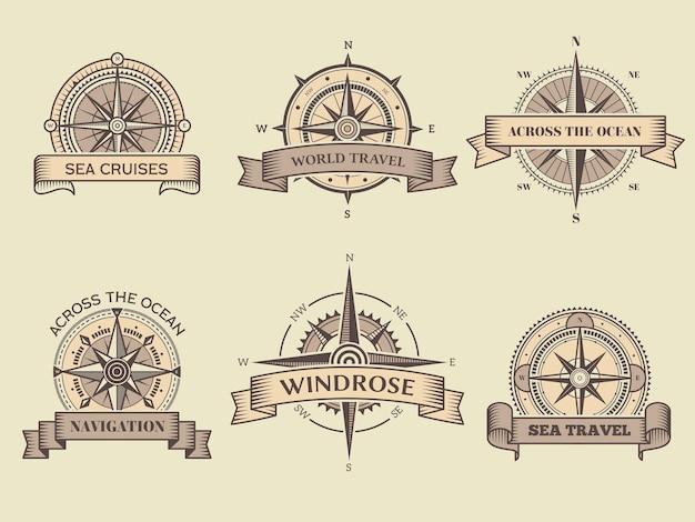 Etiquetas náuticas. brújula de mar rosa de los vientos