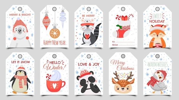 Etiquetas de navidad de animales lindos.