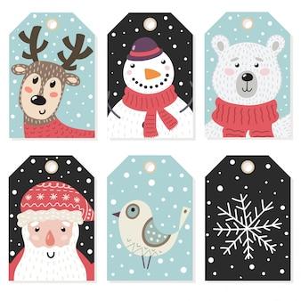 Etiquetas de navidad conjunto con personajes lindos.