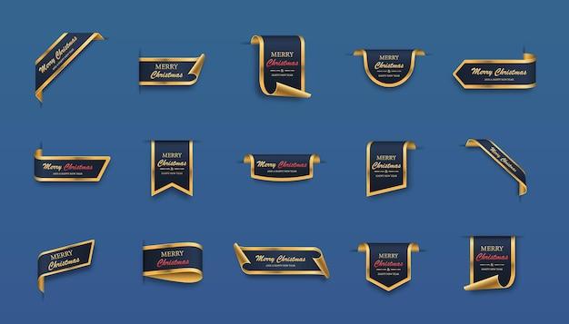 Etiquetas de navidad set rollos de oro azul y pancartas aisladas