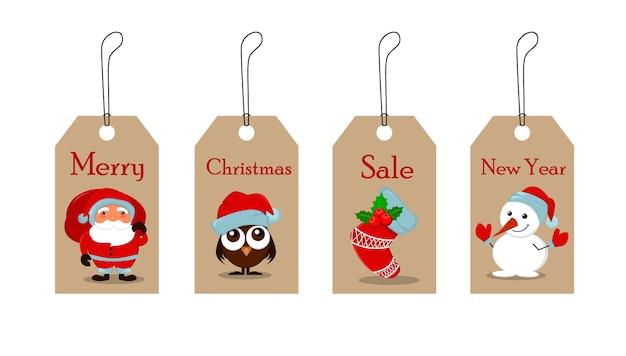 Etiquetas de navidad para la venta. feliz navidad y próspero año nuevo