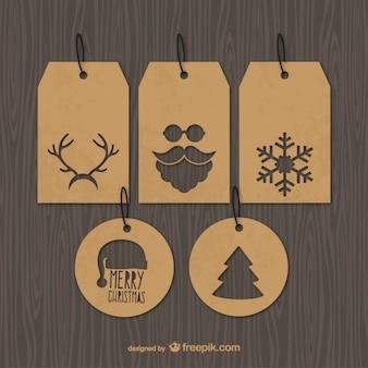 Etiquetas de la navidad vintage vector gratuito