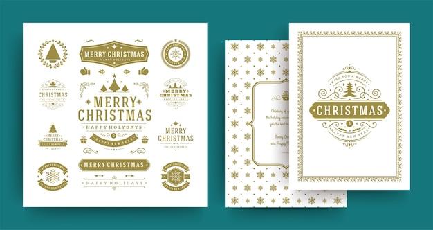 Etiquetas navideñas e insignias elementos de diseño vectorial con plantilla de tarjeta de felicitación