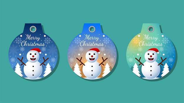 Etiquetas navideñas establecen elementos de saludos en colores de fondo. fondo de navidad.