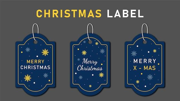 Etiquetas navideñas establecen elementos de saludos en colores de fondo. navidad