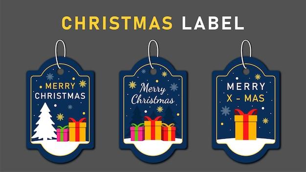 Etiquetas navideñas establecen elementos de saludos en colores de fondo.