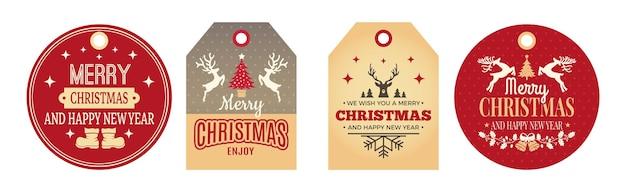 Etiquetas navideñas. etiquetas festivas, insignias de vacaciones para ropa, tarjetas de regalo conjunto de vectores. etiqueta etiqueta vacaciones de navidad para celebración o ilustración de regalos