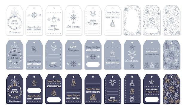 Etiquetas navideñas y etiquetas para regalos de año nuevo.