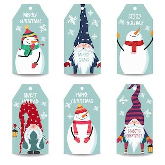 Etiquetas navideñas o colección de etiquetas con muñeco de nieve y gnomos aislados