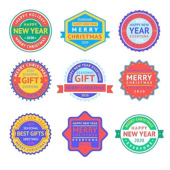 Etiquetas navideñas y set de insignias de año nuevo