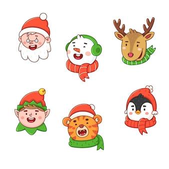 Etiquetas navideñas con símbolos de vacaciones de invierno etiquetas de regalo para decoración de año nuevo