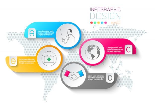 Etiquetas de negocios forma infografía barra de círculos.