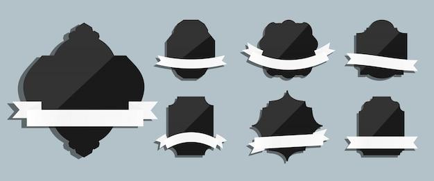Etiquetas negras con cintas conjunto vintage retro. forma diferente para saludos. plantilla para banner de texto, mejor opción, venta. decorativo de lujo moderno