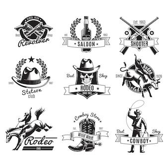 Etiquetas negras de rodeo vintage
