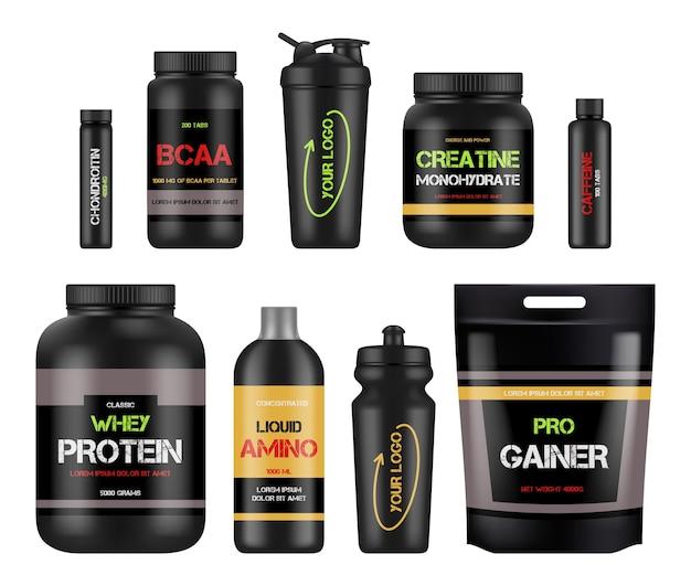 Etiquetas de nutrición deportiva. paquetes de diseño de proteínas y vitaminas amino bcaa fitness para productos saludables y potentes. ilustración bcaa y nutrición proteica, complemento de fitness y deporte