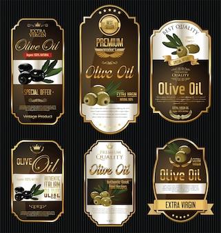 Etiquetas de oro de aceite de oliva