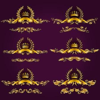 Etiquetas de oro de lujo con corona de laurel.