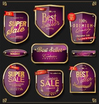 Etiquetas de oro retro y distintivos vector colección