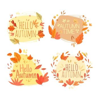 Etiquetas de otoño de diseño plano