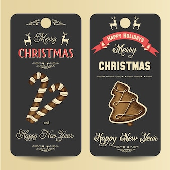 Etiquetas con pan de jengibre de navidad e inscripción de saludo.