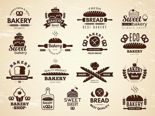 Etiquetas de panadería. pasteles y magdalenas cafe iconos cocina comida panadería productos ilustraciones