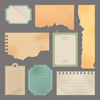 Etiquetas y papel rasgado vintage