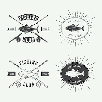 Etiquetas de pesca, logotipo, insignia.