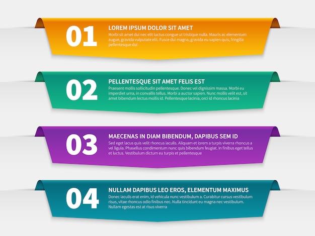 Etiquetas con pestañas. plantilla de folleto de banners de infografía en color, etiquetas de cinta numeradas de infografía con texto.