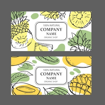 Etiquetas de piña mango