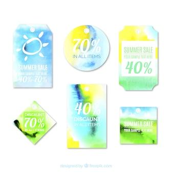 Etiquetas pintadas con acuarelas para las rebajas de verano