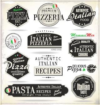 Etiquetas de pizza retro