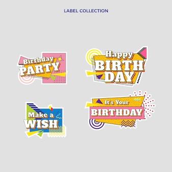 Etiquetas planas de cumpleaños nostálgico de los 90